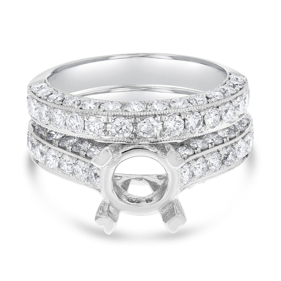 18K White Gold Wedding and Engagement Ring Set, 2.07 Carats - R&R Jewelers