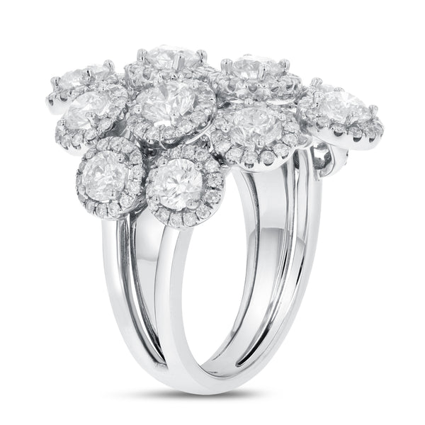 18K White Gold Statement Ring, 3.95 Carats