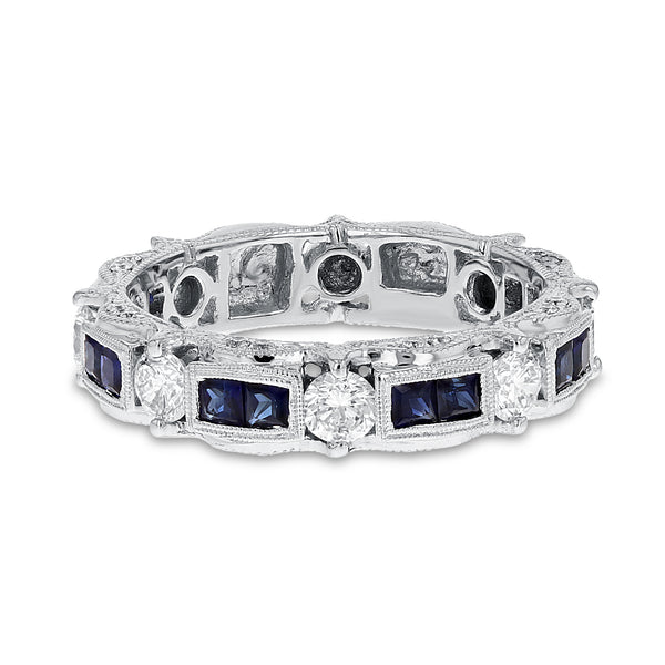 18K White Gold Diamond and Gemstone Ring, 1.35 Carats