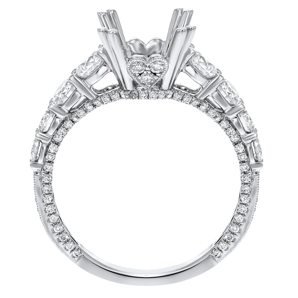 18K White Gold Semi-mount Ring, 1.38 Carats