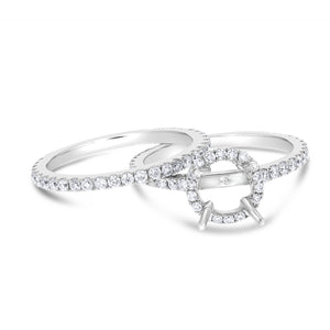 18K White Gold Wedding and Engagement Ring Set, 0.96 Carats - R&R Jewelers