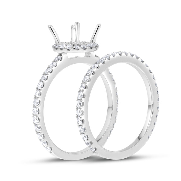 18K White Gold Wedding and Engagement Ring Set, 0.96 Carats