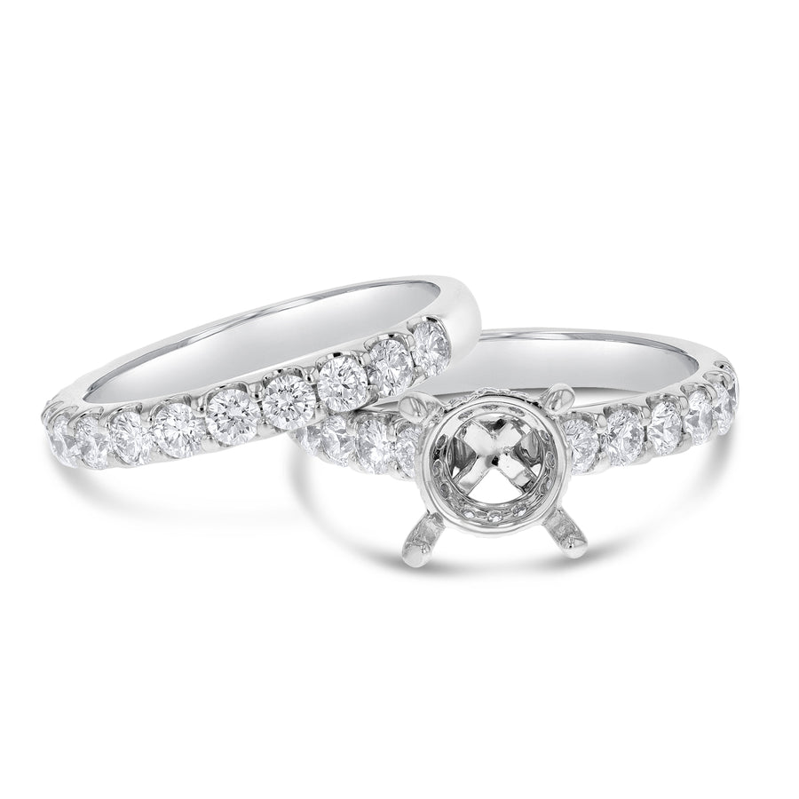18K White Gold Wedding and Engagement Ring Set, 1.69 Carats - R&R Jewelers