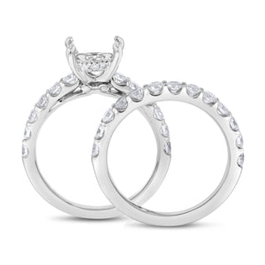 18K White Gold Wedding and Engagement Ring Set, 1.69 Carats
