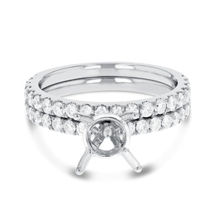 18K White Gold Wedding and Engagement Ring Set, 0.99 Carats - R&R Jewelers
