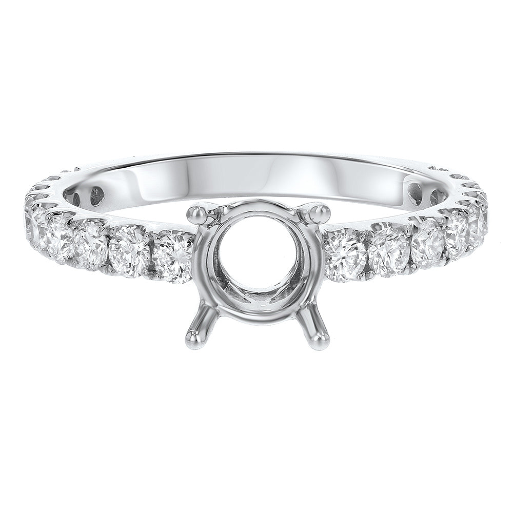 18K White Gold Semi-mount Ring, 0.80 Carats