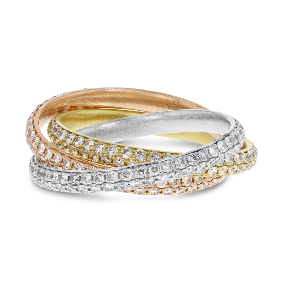 Diamond TRI-COLOR GOLD Eternity Band Set, 1.92 Carats