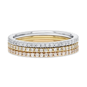Diamond WHITE, YELLOW AND ROSE GOLD Eternity Band Set, 0.93 Carats