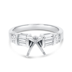 14K White Gold Semi-mount Ring, 1.15 Carats