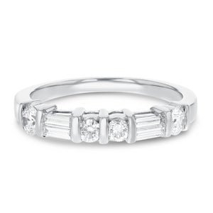 Round and Baguette Diamond Wedding Band, 1.04 Carats - R&R Jewelers