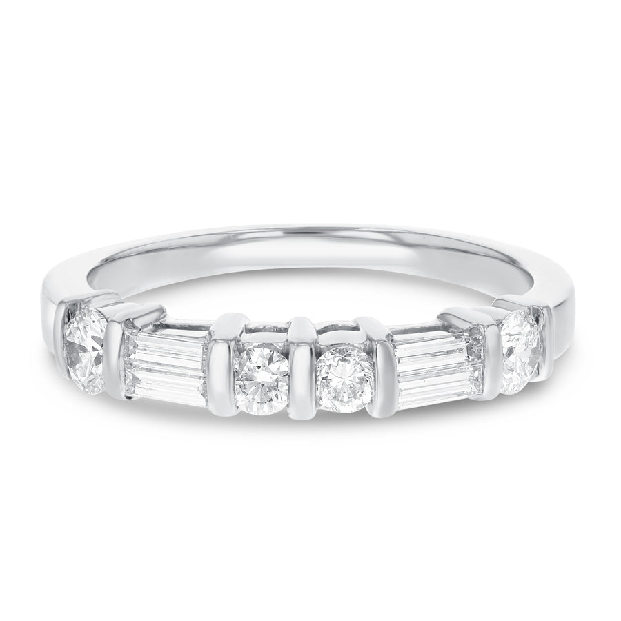 14K White Gold Diamond Wedding Band, 1.04 Carats
