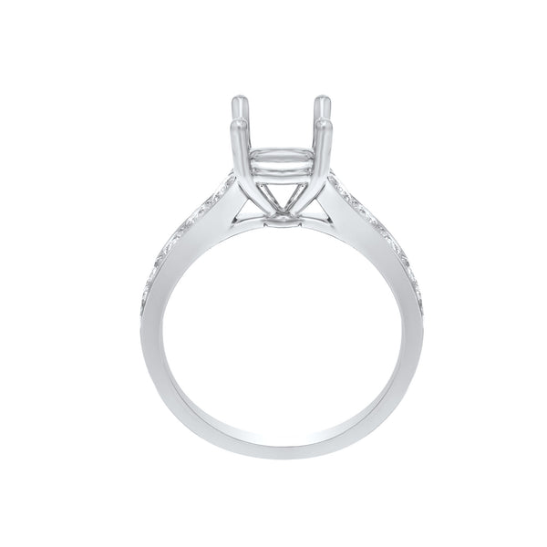 18K White Gold Semi-mount Ring, 0.78 Carats