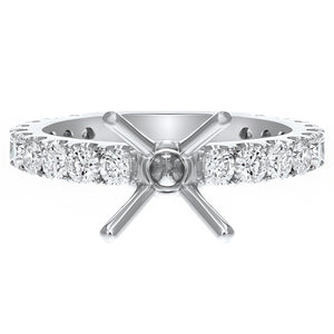 18K White Gold Semi-mount Ring, 1.32 Carats
