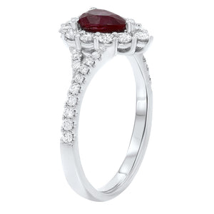 18K White Gold Diamond and Gemstone Ring, 1.41 Carats