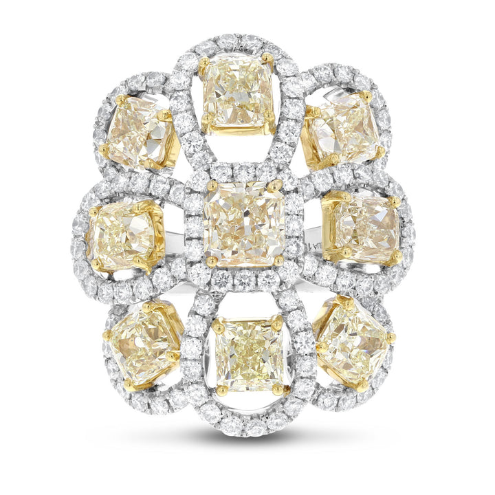 18K Two Tone Gold Fancy Yellow Diamond Ring, 13.22 Carats