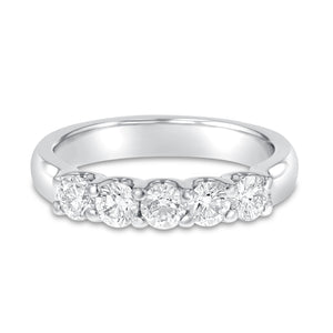 18K White Gold Diamond Wedding Band, 0.88 Carats - R&R Jewelers