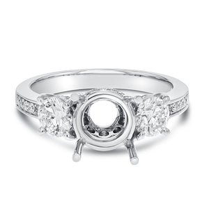 18K White Gold Semi-mount Ring, 1.05 Carats