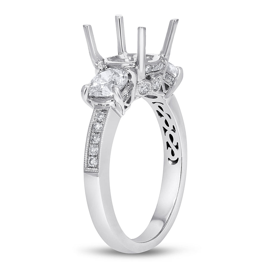 18K White Gold Semi-mount Ring, 1.05 Carats - R&R Jewelers