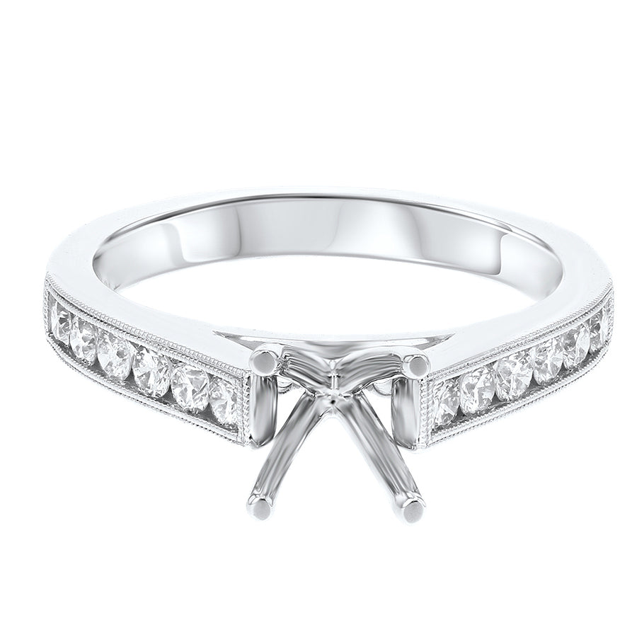 Channel Set Diamond Semi Mount Ring - R&R Jewelers