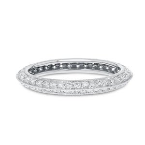 Diamond White Gold Knife Edge Eternity Band, 0.86 Carats