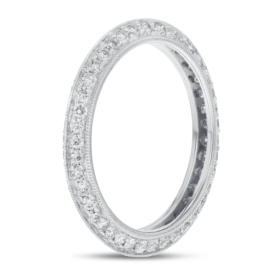 Diamond White Gold Knife Edge Eternity Band, 0.86 Carats - R&R Jewelers