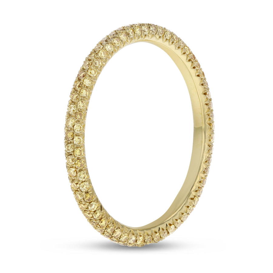 18K Yellow Gold Diamond Wedding Band, 0.53 Carats
