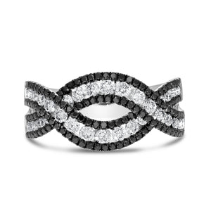 Black and White Diamond Infinity Fashion Ring - R&R Jewelers