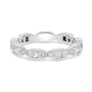 18K White Gold Diamond Wedding Band, 0.59 Carats