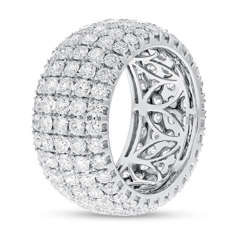 Diamond White Gold Multi Row Eternity Band, 5.37 Carats - R&R Jewelers
