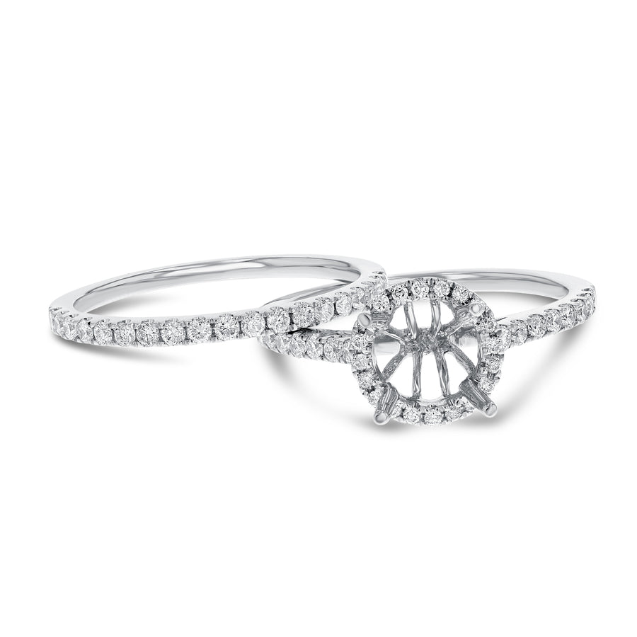 Diamond Halo Engagement Ring Set - R&R Jewelers