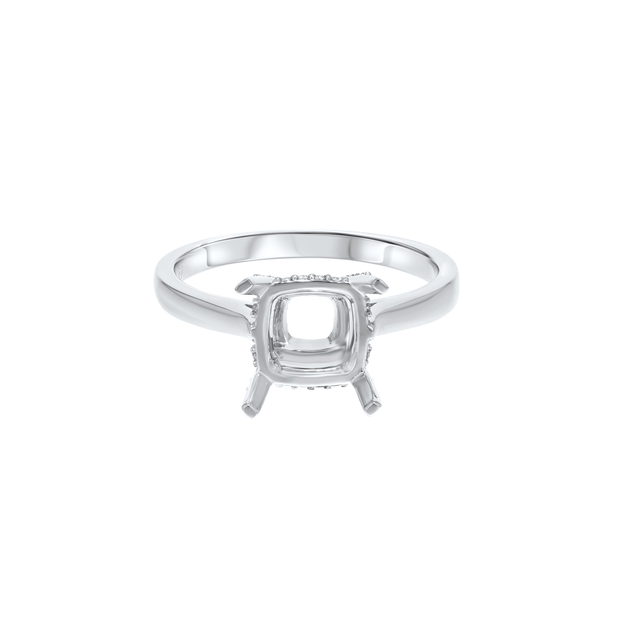 18K White Gold Semi-mount Ring, 0.11 Carats