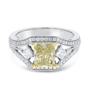 18K Two Tone Gold Engagement Ring, 1.95 Carats - R&R Jewelers