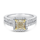 Yellow Diamond Split Shank Engagement Ring - R&R Jewelers