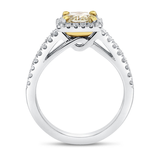18K TWO TONE GOLD Engagement Ring, 1.86 Carats