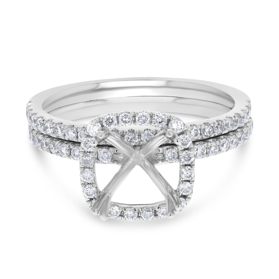 18K White Gold Wedding and Engagement Ring Set, 0.52 Carats