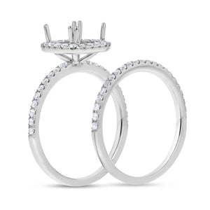 18K White Gold Wedding and Engagement Ring Set, 0.52 Carats - R&R Jewelers