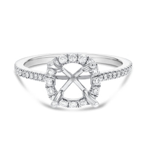 18K White Gold Semi-mount Ring, 0.34 Carats