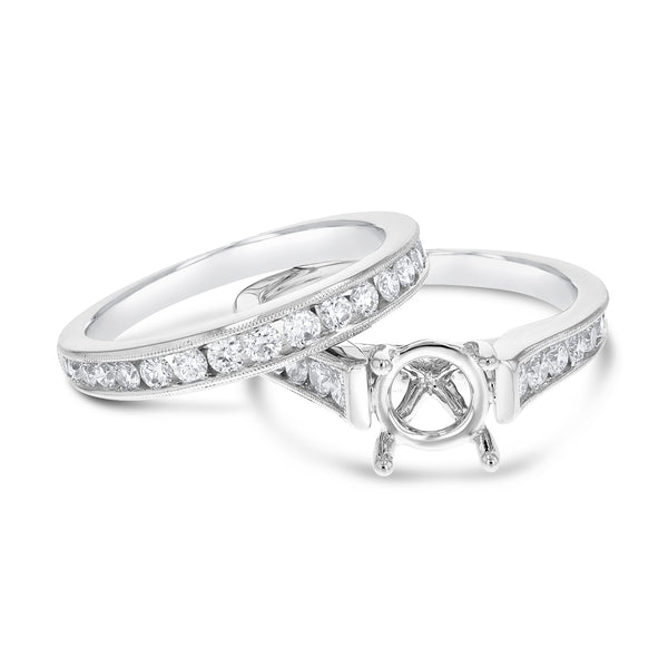 18K White Gold Wedding and Engagement Ring Set, 1.02 Carats