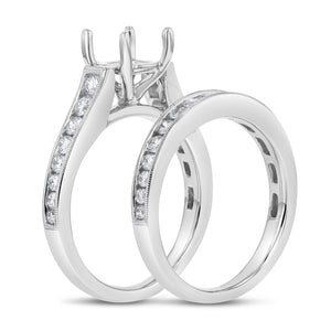 18K White Gold Wedding and Engagement Ring Set, 1.02 Carats - R&R Jewelers