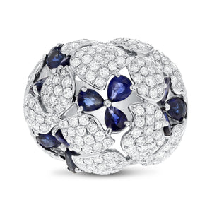 18K White Gold Sapphire and Diamond Ring, 7.35 Carats