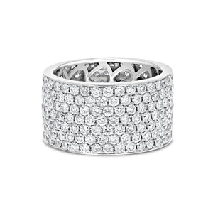 Diamond White Gold Multi Row Eternity Band, 4.64 Carats
