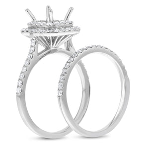 18K White Gold Wedding and Engagement Ring Set, 0.90 Carats - R&R Jewelers
