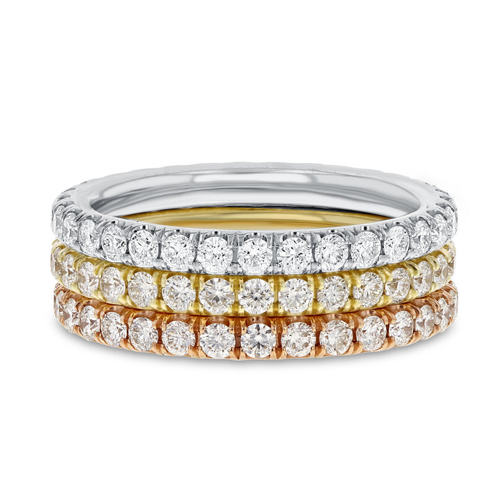 Diamond TRI COLOR GOLD Eternity Band Set, 2.38 Carats