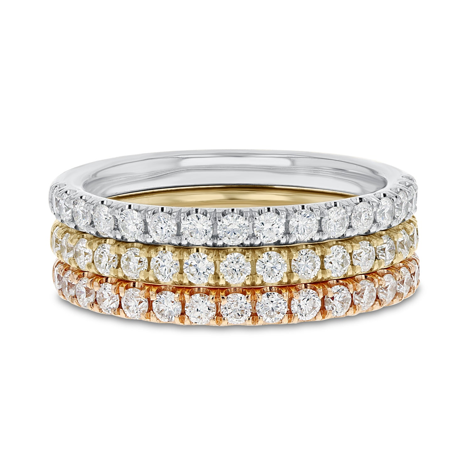 18K TRI COLOR GOLD Diamond Wedding Band, 1.08 Carats