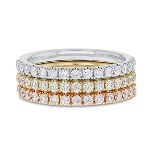18K Tri-Color Gold Diamond Wedding Band, 1.08 Carats - R&R Jewelers