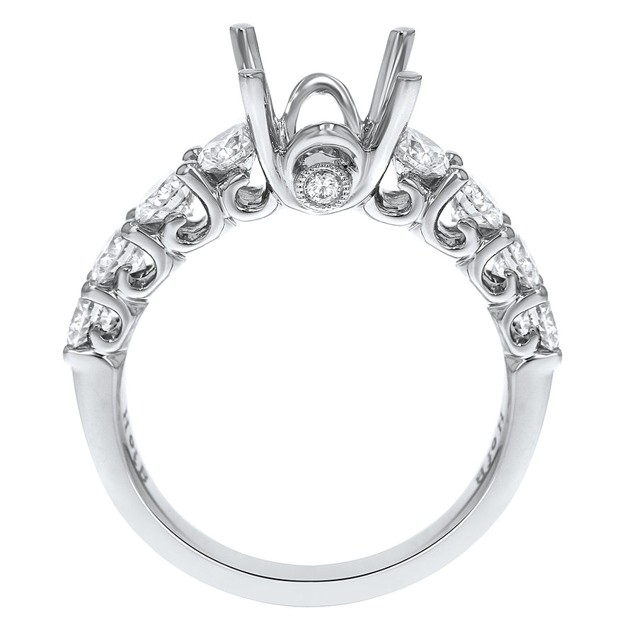 Half Way Diamond Semi Mount Ring - R&R Jewelers