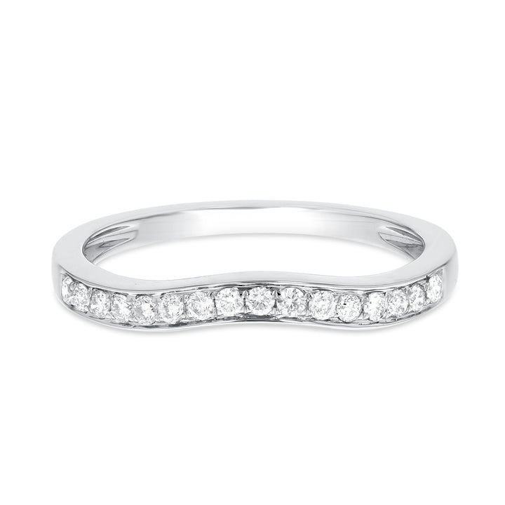 18K White Gold Diamond Wedding Band, 0.20 Carats