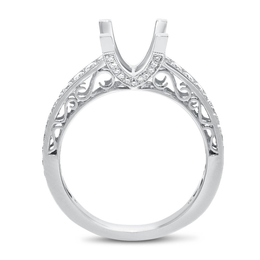 18K White Gold Semi-mount Ring, 0.56 Carats - R&R Jewelers