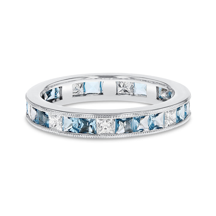 Channel Set Aquamarine and Diamond Eternity Ring - R&R Jewelers