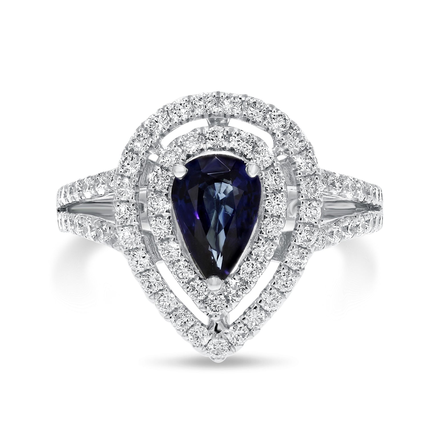 18K White Gold Diamond and Gemstone Ring, 1.82 Carats